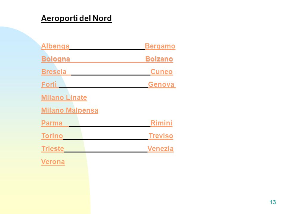 13 Aeroporti del Nord AlbengaAlbenga Bergamo Bologna Bolzano Bologna Bolzano Brescia CuneoCuneo Forlì Genova Genova Milano Linate Milano Malpensa Parm