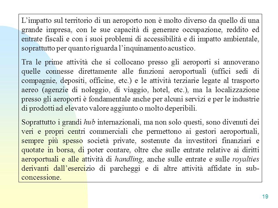 19 Limpatto sul territorio di un aeroporto non è molto diverso da quello di una grande impresa, con le sue capacità di generare occupazione, reddito e