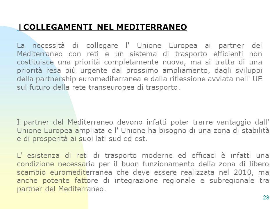 28 I COLLEGAMENTI NEL MEDITERRANEO La necessità di collegare l' Unione Europea ai partner del Mediterraneo con reti e un sistema di trasporto efficien