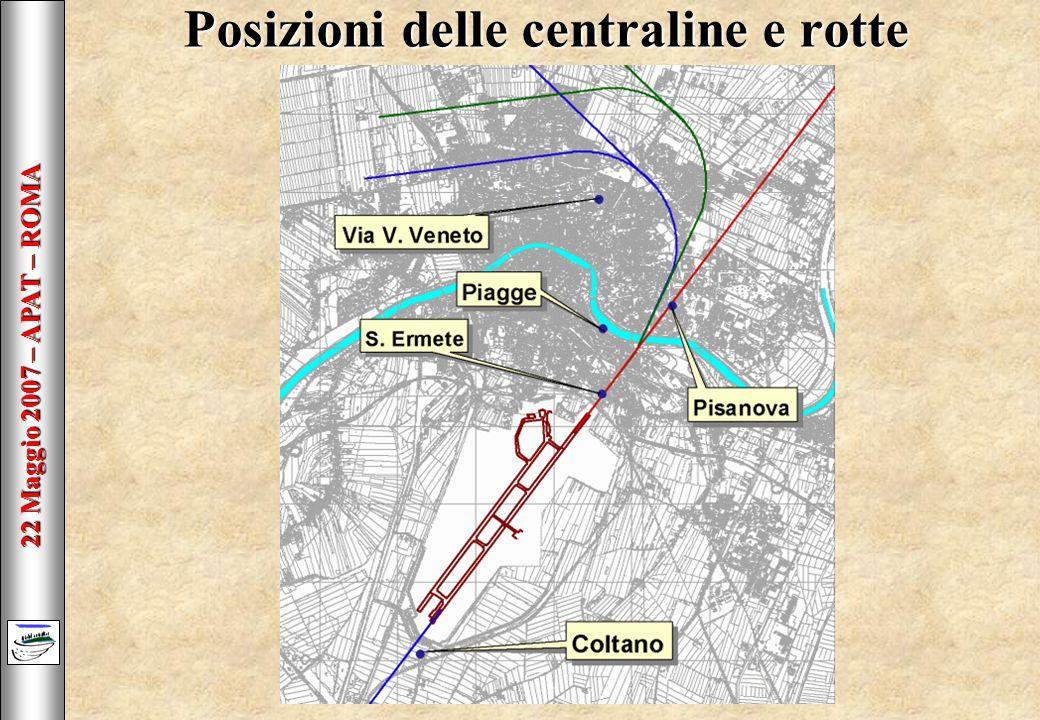 22 Maggio 2007 – APAT – ROMA Posizioni delle centraline e rotte
