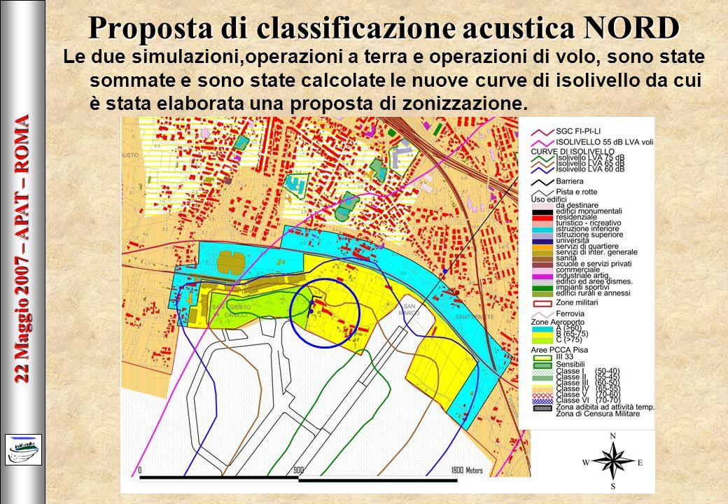 22 Maggio 2007 – APAT – ROMA Proposta di classificazione acustica NORD Le due simulazioni,operazioni a terra e operazioni di volo, sono state sommate e sono state calcolate le nuove curve di isolivello da cui è stata elaborata una proposta di zonizzazione.