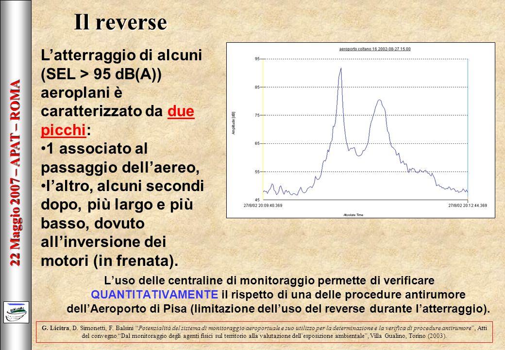 22 Maggio 2007 – APAT – ROMA Il reverse Luso delle centraline di monitoraggio permette di verificare QUANTITATIVAMENTE il rispetto di una delle procedure antirumore dellAeroporto di Pisa (limitazione delluso del reverse durante latterraggio).