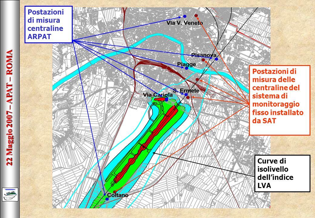 22 Maggio 2007 – APAT – ROMA Curve di isolivello dellindice LVA Postazioni di misura centraline ARPAT Postazioni di misura delle centraline del sistema di monitoraggio fisso installato da SAT