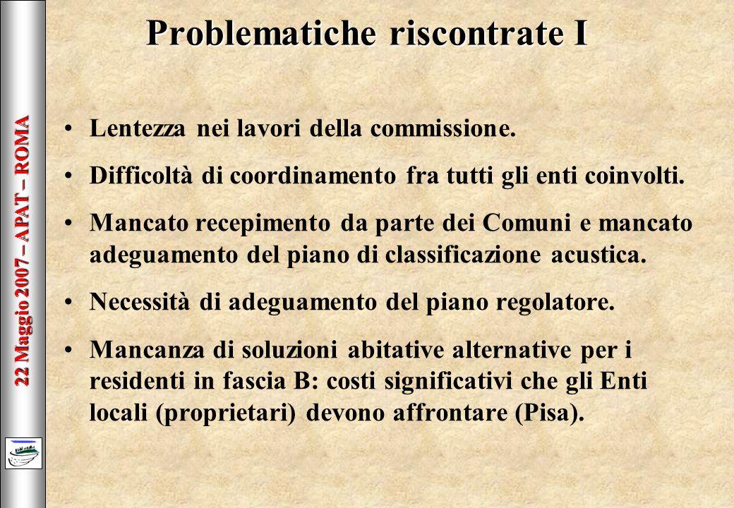 22 Maggio 2007 – APAT – ROMA Problematiche riscontrate I Lentezza nei lavori della commissione.