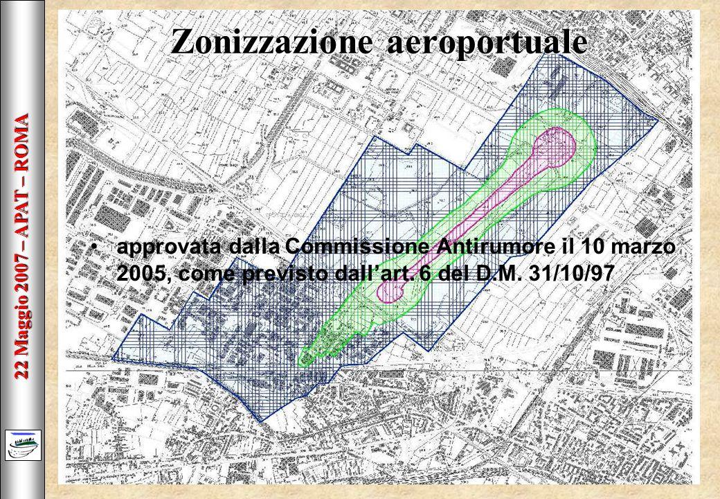 22 Maggio 2007 – APAT – ROMA Zonizzazione aeroportuale approvata dalla Commissione Antirumore il 10 marzo 2005, come previsto dallart.