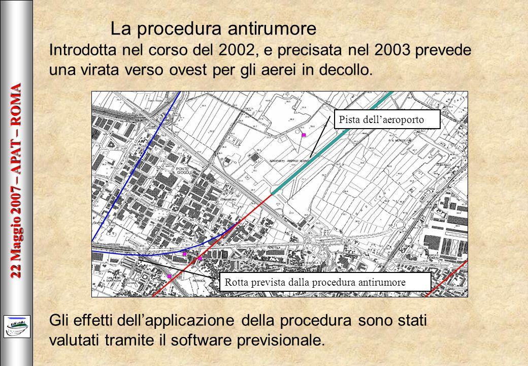 22 Maggio 2007 – APAT – ROMA La procedura antirumore Introdotta nel corso del 2002, e precisata nel 2003 prevede una virata verso ovest per gli aerei in decollo.