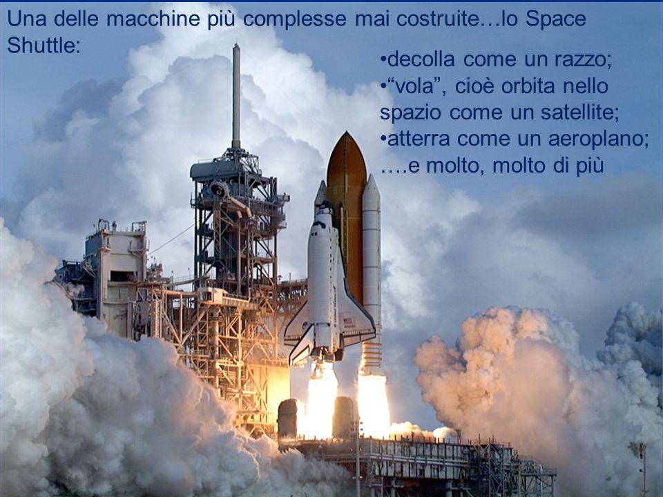 Una delle macchine più complesse mai costruite…lo Space Shuttle: decolla come un razzo; vola, cioè orbita nello spazio come un satellite; atterra come un aeroplano; ….e molto, molto di più