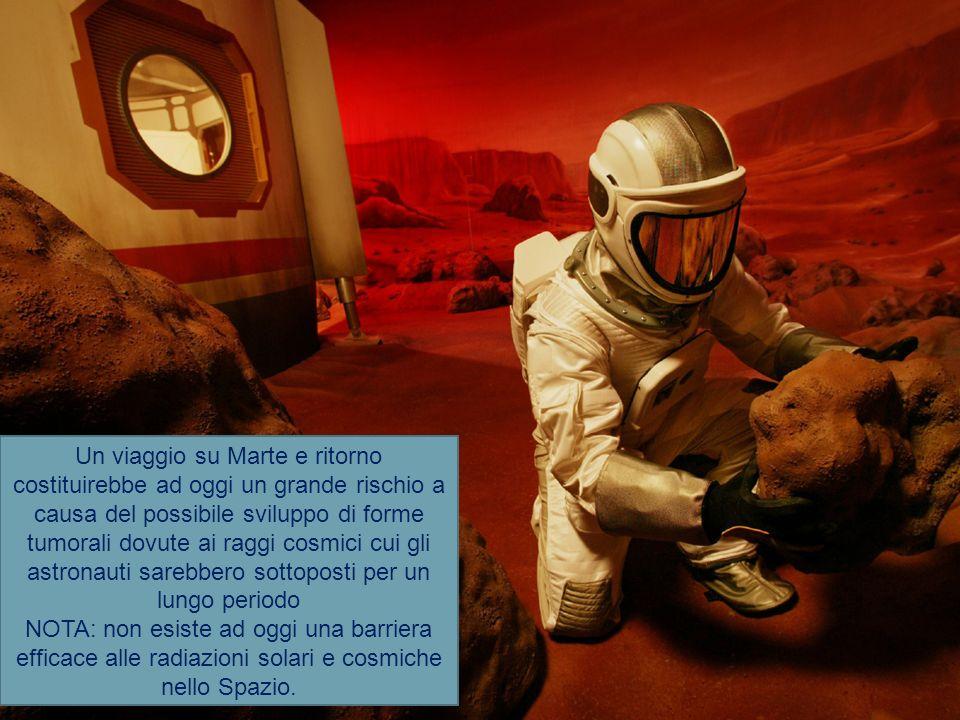 Un viaggio su Marte e ritorno costituirebbe ad oggi un grande rischio a causa del possibile sviluppo di forme tumorali dovute ai raggi cosmici cui gli astronauti sarebbero sottoposti per un lungo periodo NOTA: non esiste ad oggi una barriera efficace alle radiazioni solari e cosmiche nello Spazio.