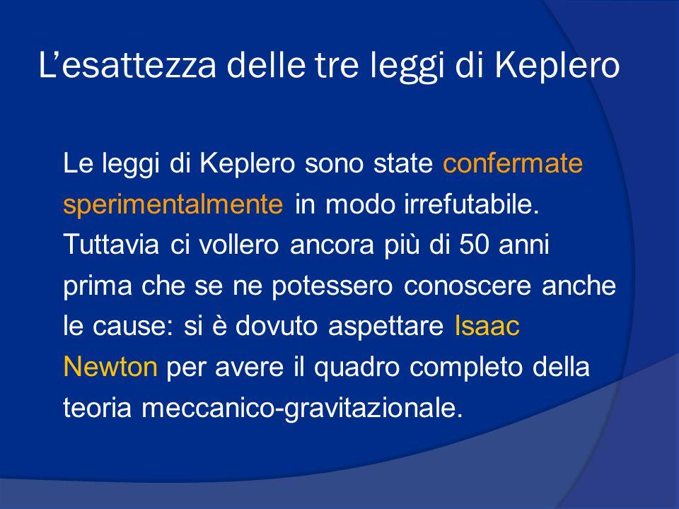 Lesattezza delle tre leggi di Keplero Le leggi di Keplero sono state confermate sperimentalmente in modo irrefutabile.