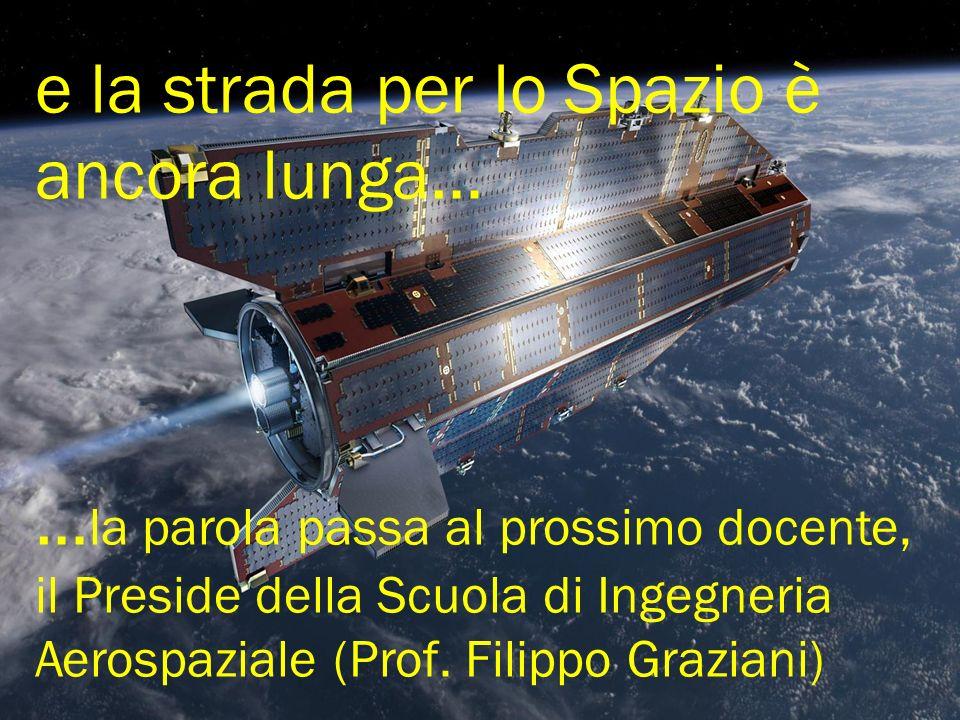 e la strada per lo Spazio è ancora lunga… … la parola passa al prossimo docente, il Preside della Scuola di Ingegneria Aerospaziale (Prof.