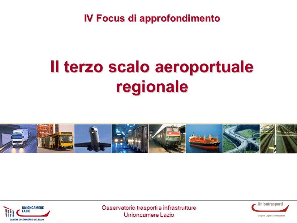 Il terzo scalo aeroportuale regionale Osservatorio trasporti e infrastrutture Unioncamere Lazio IV Focus di approfondimento