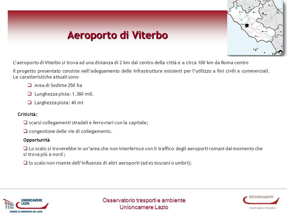 Osservatorio trasporti e ambiente Unioncamere Lazio Aeroporto di Viterbo Laeroporto di Viterbo si trova ad una distanza di 2 km dal centro della città