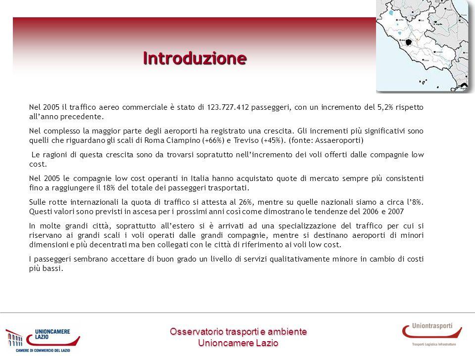 Osservatorio trasporti e ambiente Unioncamere Lazio Introduzione Nel 2005 il traffico aereo commerciale è stato di 123.727.412 passeggeri, con un incr