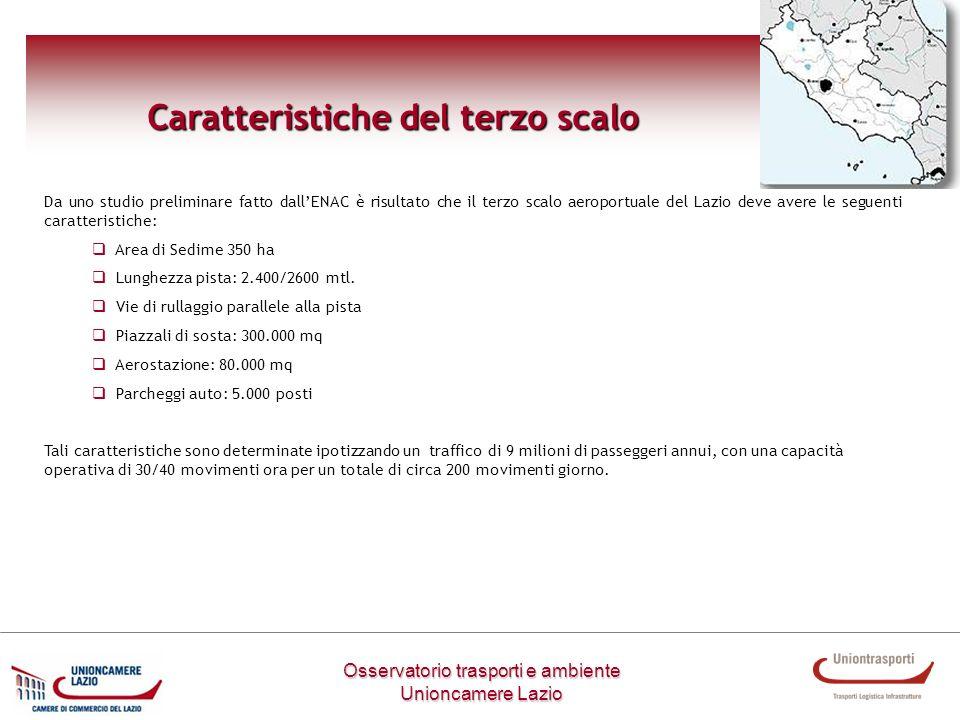 Osservatorio trasporti e ambiente Unioncamere Lazio Caratteristiche del terzo scalo Da uno studio preliminare fatto dallENAC è risultato che il terzo