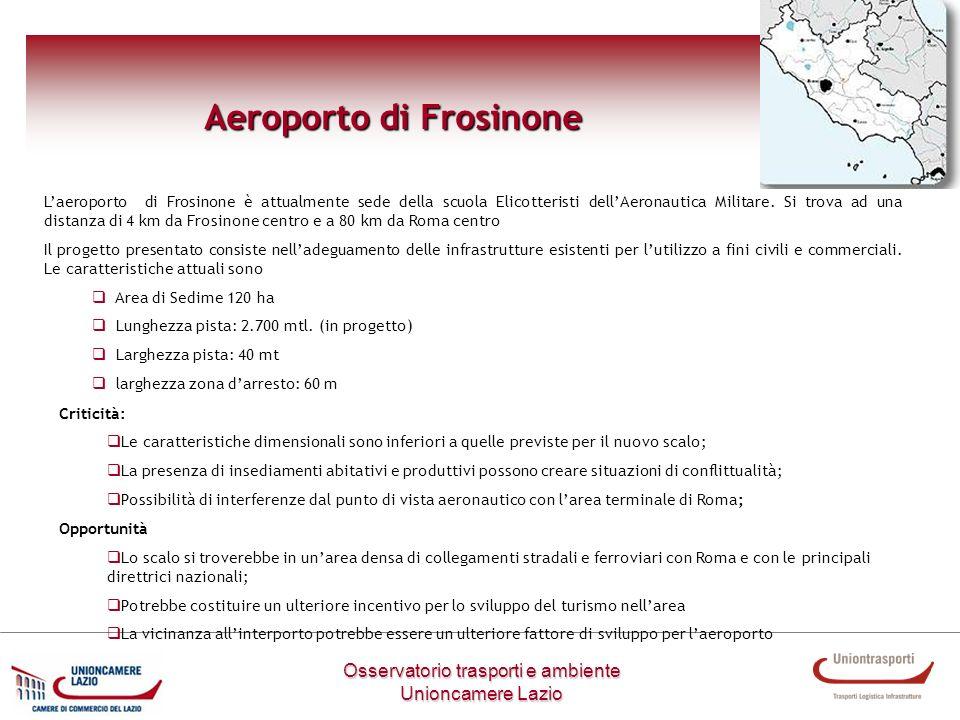 Osservatorio trasporti e ambiente Unioncamere Lazio Aeroporto di Frosinone Laeroporto di Frosinone è attualmente sede della scuola Elicotteristi dellA