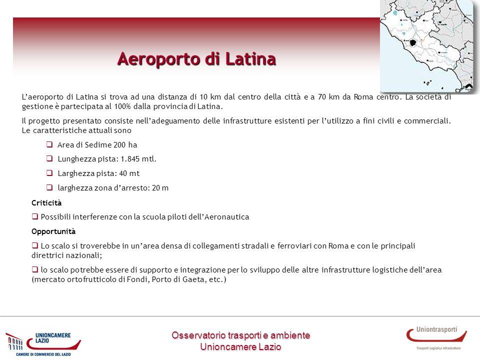 Osservatorio trasporti e ambiente Unioncamere Lazio Aeroporto di Latina Laeroporto di Latina si trova ad una distanza di 10 km dal centro della città