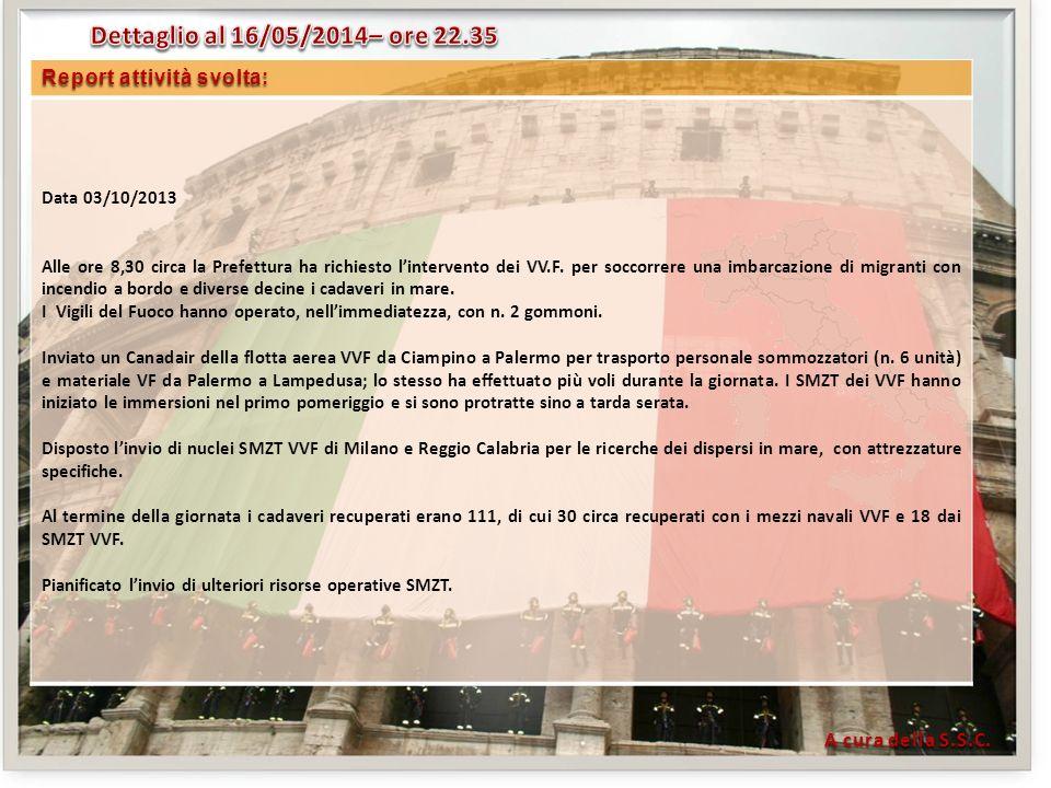 Report attività svolta: Data 03/10/2013 Alle ore 8,30 circa la Prefettura ha richiesto lintervento dei VV.F.