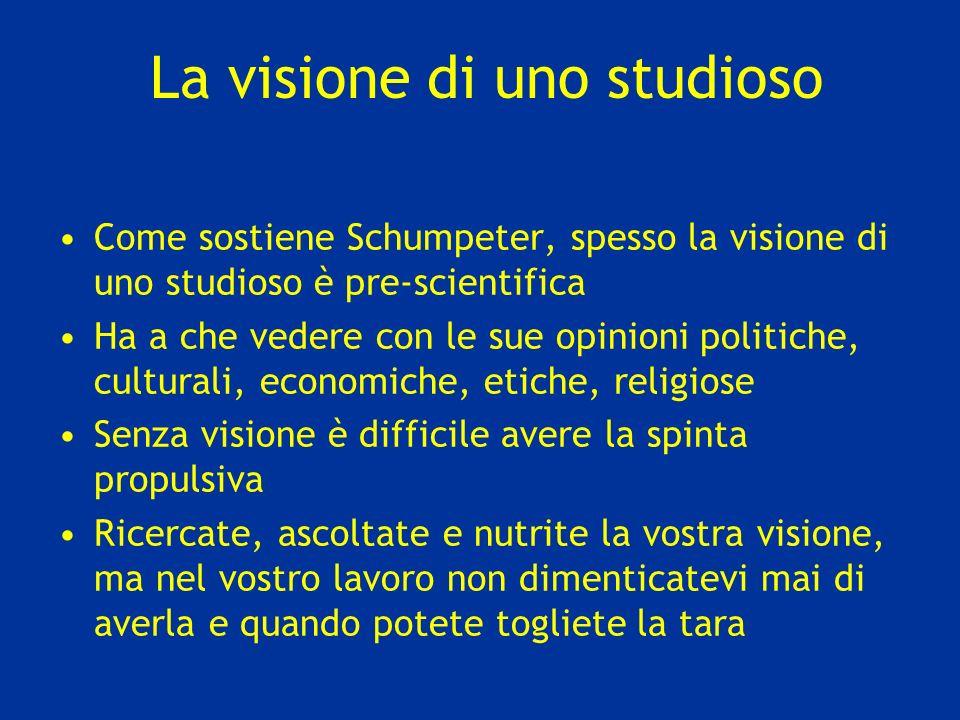 La visione di uno studioso Come sostiene Schumpeter, spesso la visione di uno studioso è pre-scientifica Ha a che vedere con le sue opinioni politiche
