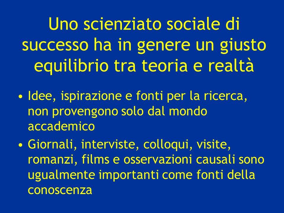 Uno scienziato sociale di successo ha in genere un giusto equilibrio tra teoria e realtà Idee, ispirazione e fonti per la ricerca, non provengono solo