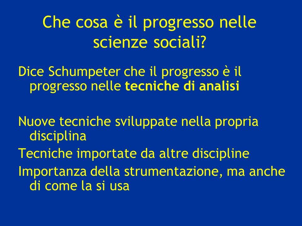 Che cosa è il progresso nelle scienze sociali? Dice Schumpeter che il progresso è il progresso nelle tecniche di analisi Nuove tecniche sviluppate nel