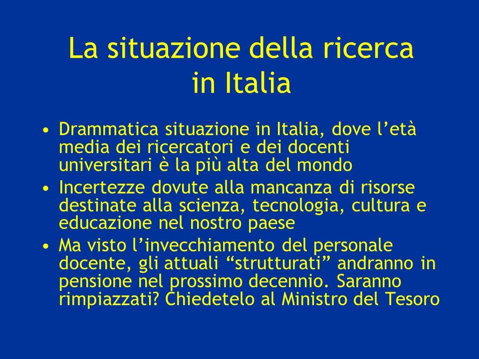 La situazione della ricerca in Italia Drammatica situazione in Italia, dove letà media dei ricercatori e dei docenti universitari è la più alta del mo