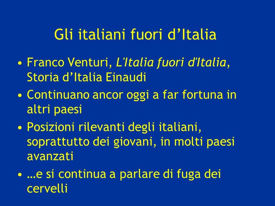 Gli italiani fuori dItalia Franco Venturi, L'Italia fuori d'Italia, Storia dItalia Einaudi Continuano ancor oggi a far fortuna in altri paesi Posizion