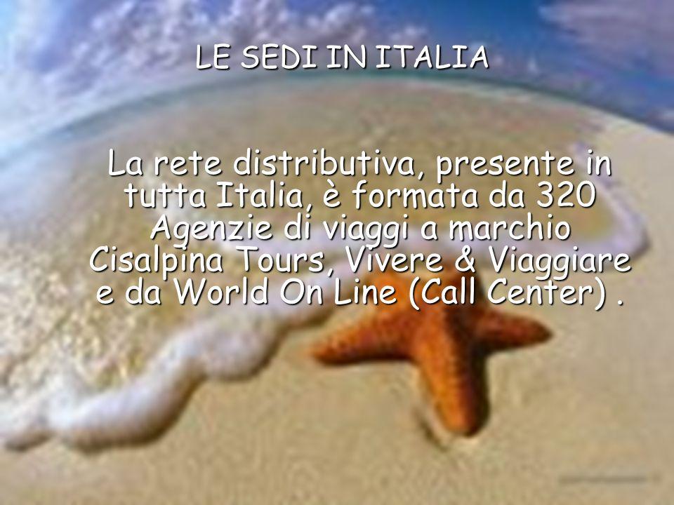LE SEDI IN ITALIA La rete distributiva, presente in tutta Italia, è formata da 320 Agenzie di viaggi a marchio Cisalpina Tours, Vivere & Viaggiare e d