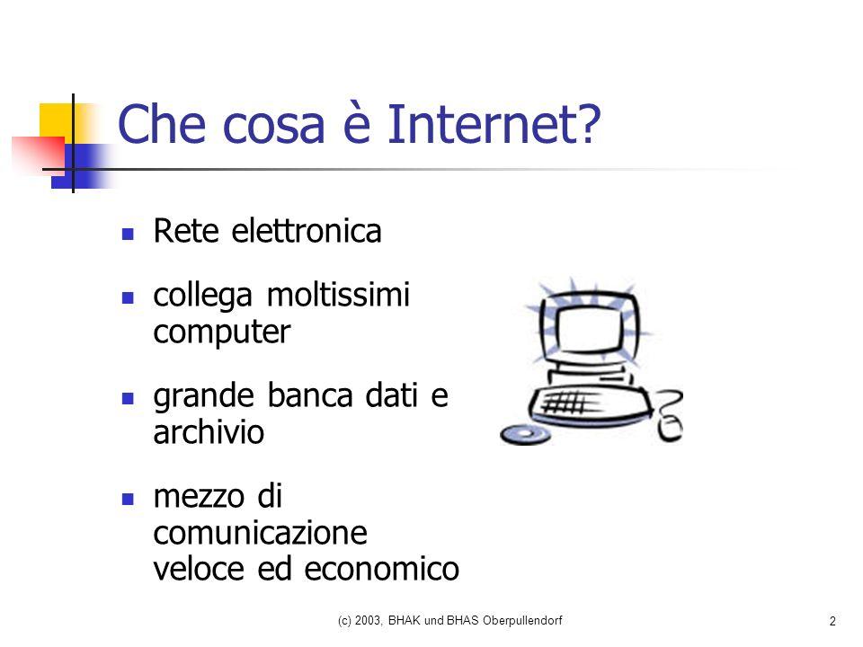 (c) 2003, BHAK und BHAS Oberpullendorf 2 Che cosa è Internet.