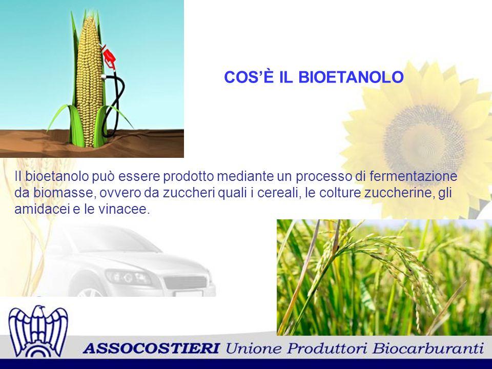 COSÈ IL BIOETANOLO Il bioetanolo può essere prodotto mediante un processo di fermentazione da biomasse, ovvero da zuccheri quali i cereali, le colture