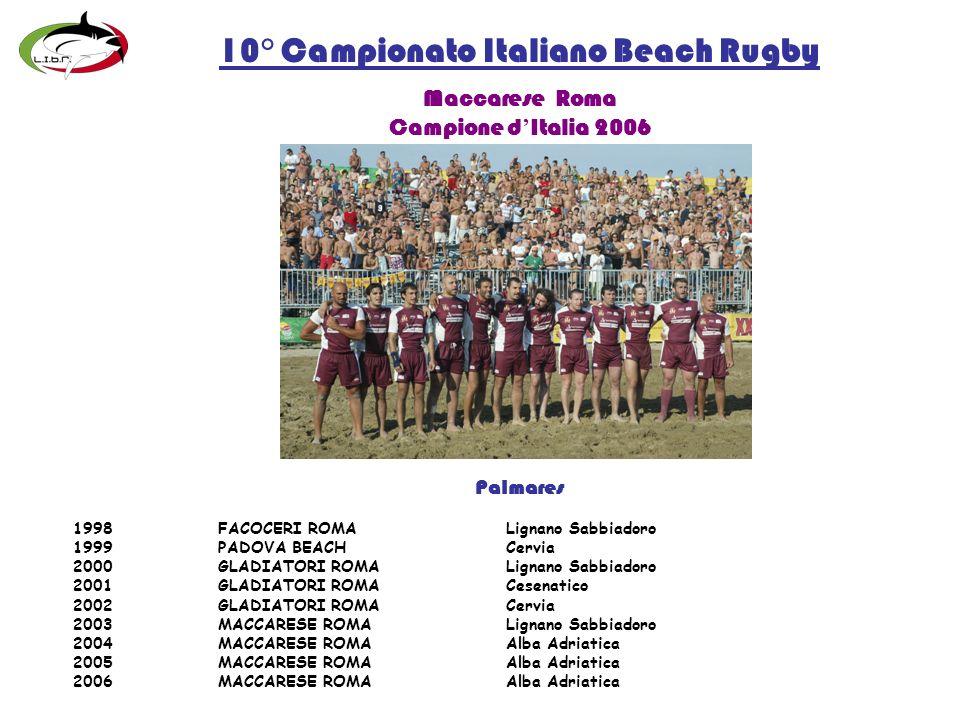 10° Campionato Italiano Beach Rugby Maccarese Roma Campione d Italia 2006 Palmares 1998FACOCERI ROMALignano Sabbiadoro 1999PADOVA BEACHCervia 2000GLADIATORI ROMALignano Sabbiadoro 2001GLADIATORI ROMACesenatico 2002GLADIATORI ROMA Cervia 2003MACCARESE ROMALignano Sabbiadoro 2004MACCARESE ROMAAlba Adriatica 2005MACCARESE ROMAAlba Adriatica 2006MACCARESE ROMAAlba Adriatica