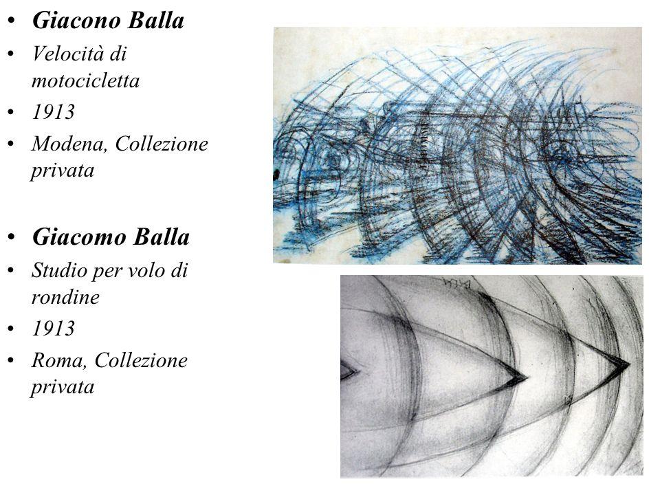 Giacono Balla Velocità di motocicletta 1913 Modena, Collezione privata Giacomo Balla Studio per volo di rondine 1913 Roma, Collezione privata