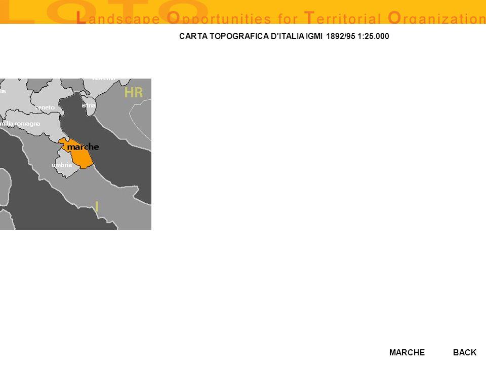 MARCHE CARTA TOPOGRAFICA D ITALIA IGMI 1892/95 1:25.000 BACK