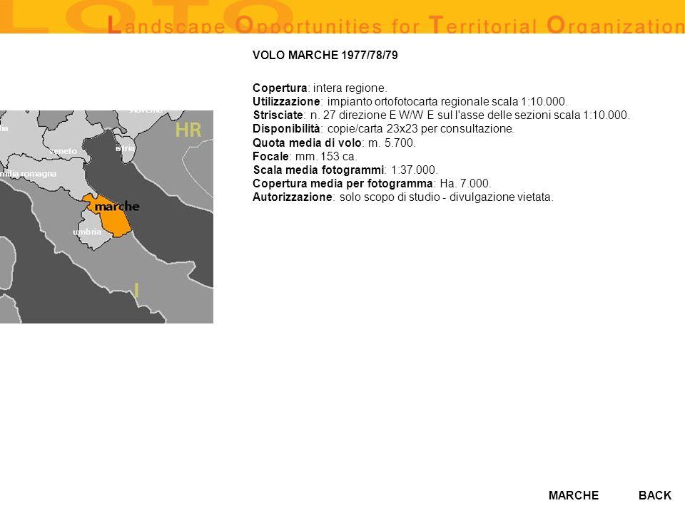 MARCHE VOLO MARCHE 1977/78/79 Copertura: intera regione. Utilizzazione: impianto ortofotocarta regionale scala 1:10.000. Strisciate: n. 27 direzione E