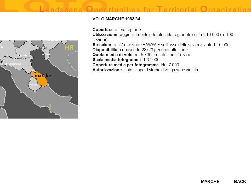 MARCHE VOLO MARCHE 1983/84 Copertura: intera regione.