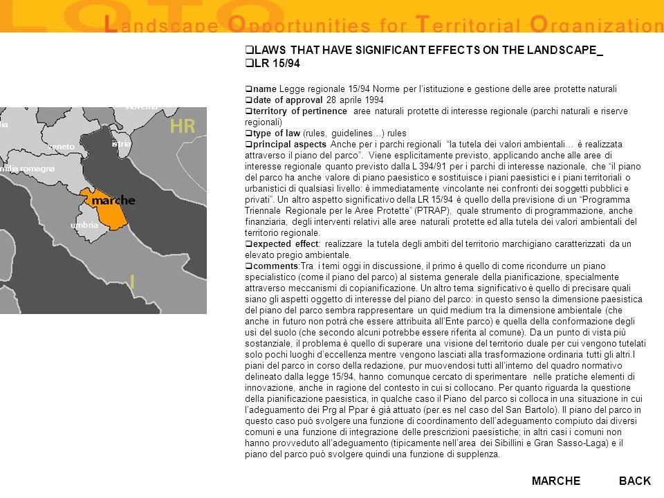 MARCHE LAWS THAT HAVE SIGNIFICANT EFFECTS ON THE LANDSCAPE_ LR 15/94 name Legge regionale 15/94 Norme per listituzione e gestione delle aree protette