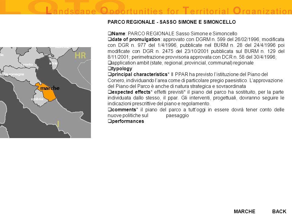 MARCHE PARCO REGIONALE - SASSO SIMONE E SIMONCELLO Name: PARCO REGIONALE Sasso Simone e Simoncello date of promulgation: approvato con DGRM n. 599 del