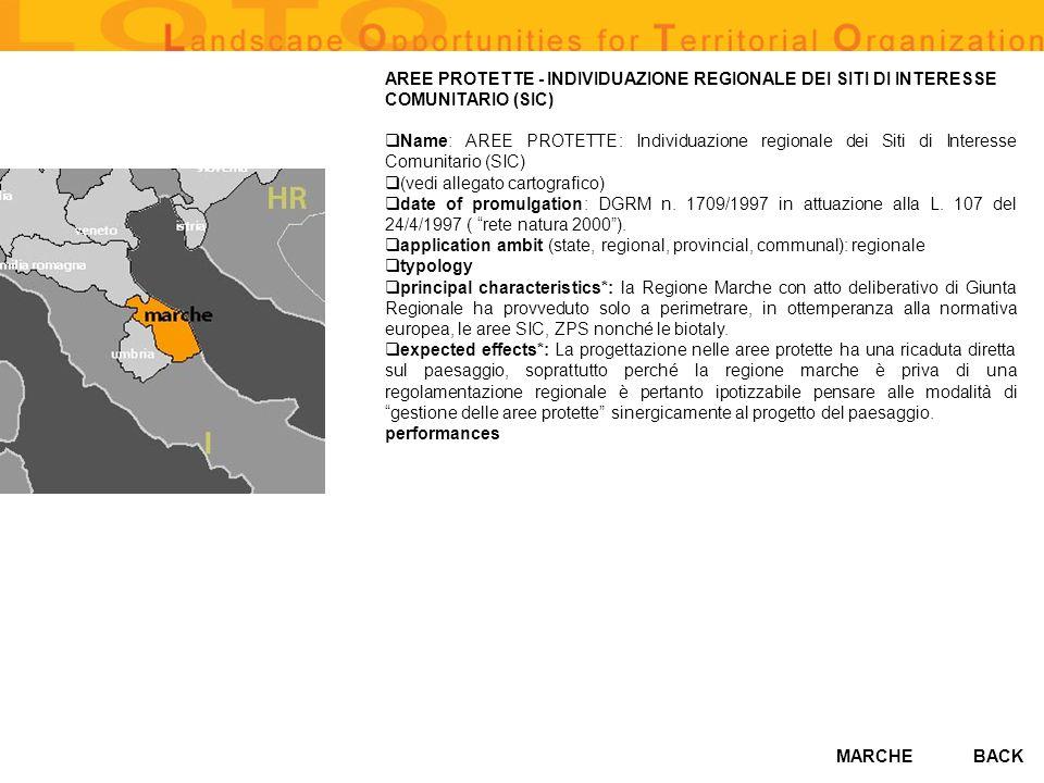 MARCHE AREE PROTETTE - INDIVIDUAZIONE REGIONALE DEI SITI DI INTERESSE COMUNITARIO (SIC) Name: AREE PROTETTE: Individuazione regionale dei Siti di Inte