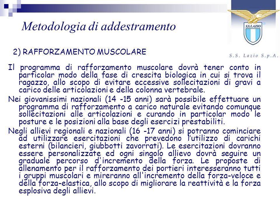 Il programma di rafforzamento muscolare dovrà tener conto in particolar modo della fase di crescita biologica in cui si trova il ragazzo, allo scopo d