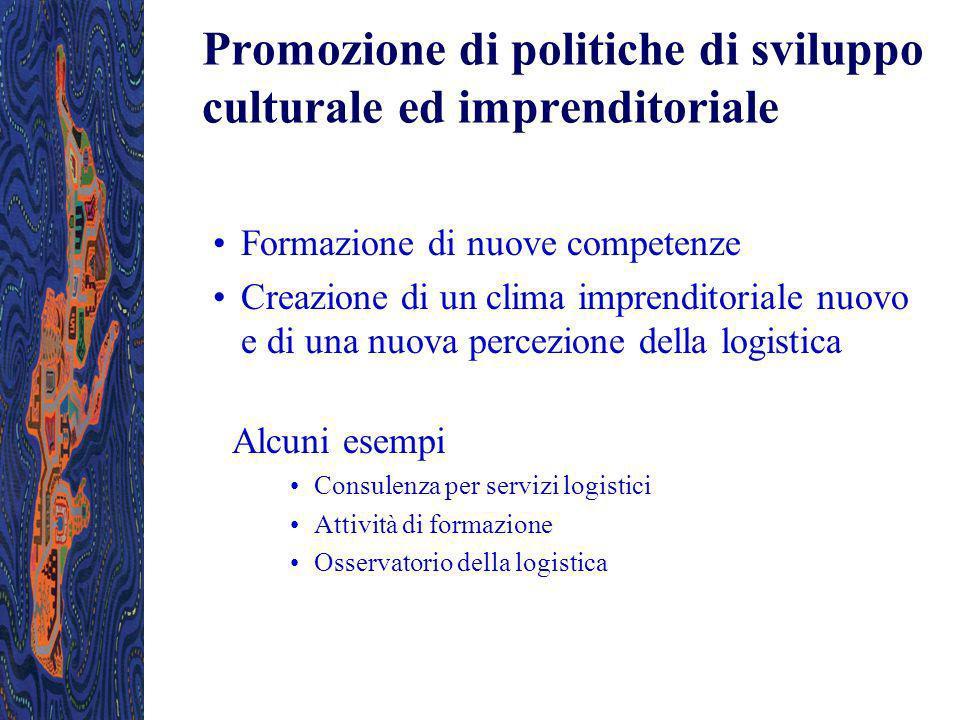 Promozione di politiche di sviluppo culturale ed imprenditoriale Formazione di nuove competenze Creazione di un clima imprenditoriale nuovo e di una n