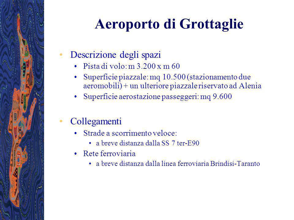 Descrizione degli spazi Pista di volo: m 3.200 x m 60 Superficie piazzale: mq 10.500 (stazionamento due aeromobili) + un ulteriore piazzale riservato