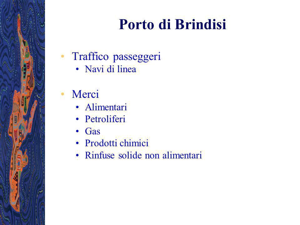 Porto di Brindisi Traffico passeggeri Navi di linea Merci Alimentari Petroliferi Gas Prodotti chimici Rinfuse solide non alimentari