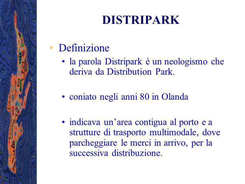 DISTRIPARK Definizione la parola Distripark è un neologismo che deriva da Distribution Park. coniato negli anni 80 in Olanda indicava unarea contigua