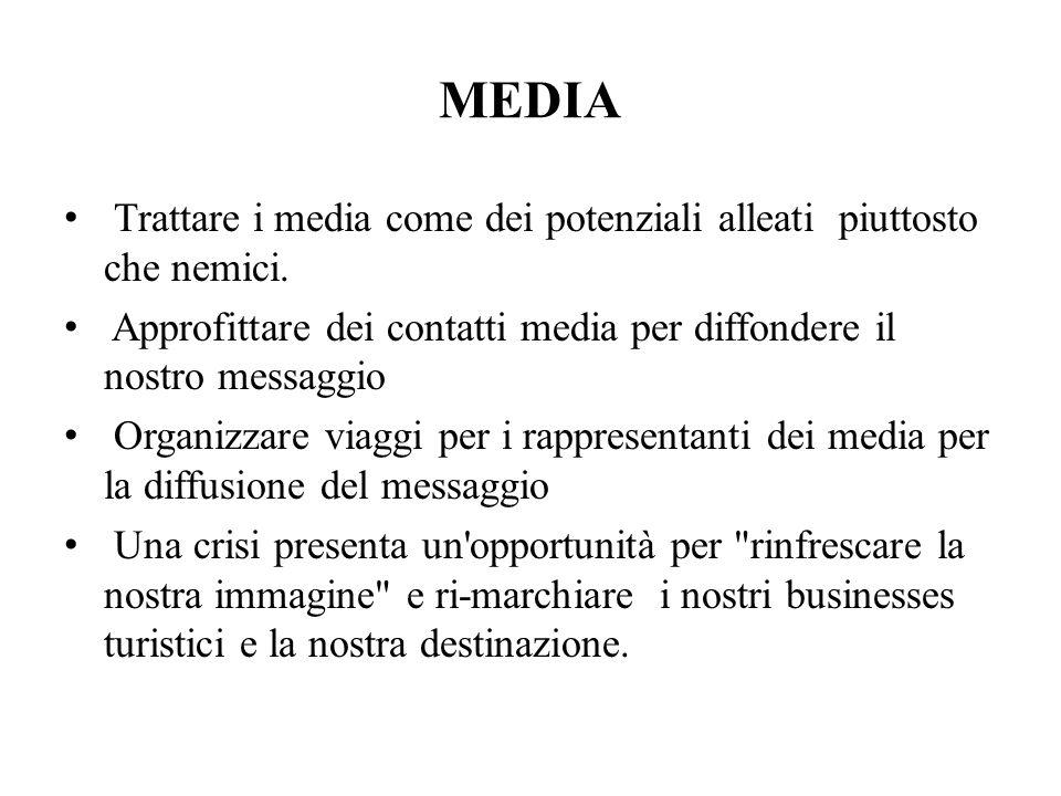 MEDIA Trattare i media come dei potenziali alleati piuttosto che nemici.