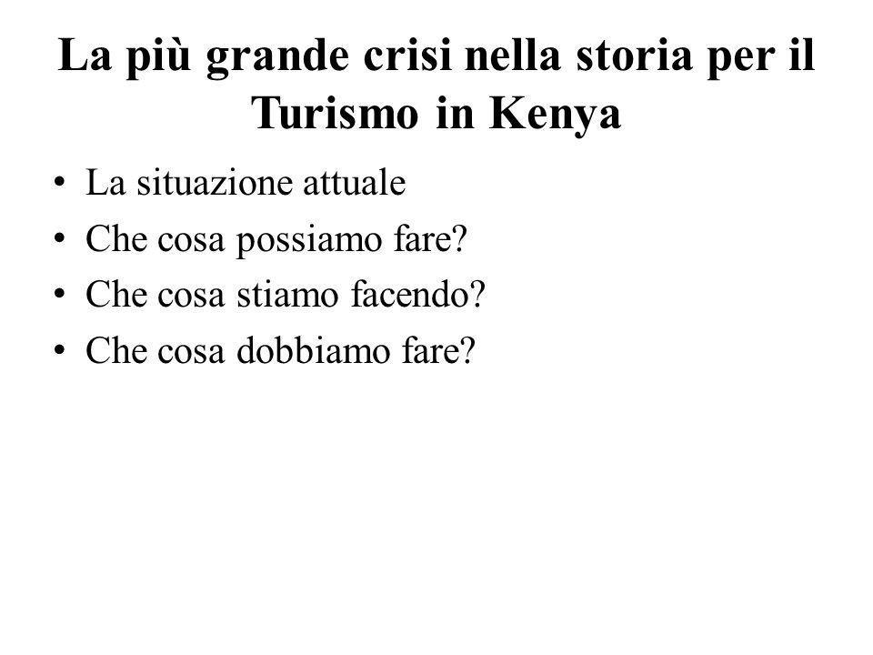 La più grande crisi nella storia per il Turismo in Kenya La situazione attuale Che cosa possiamo fare.