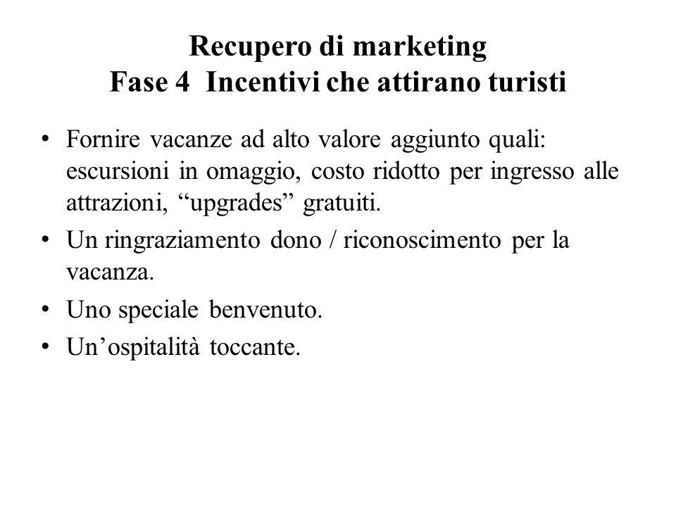 Recupero di marketing Fase 4 Incentivi che attirano turisti Fornire vacanze ad alto valore aggiunto quali: escursioni in omaggio, costo ridotto per ingresso alle attrazioni, upgrades gratuiti.