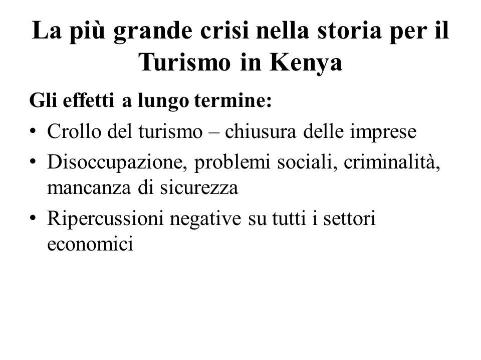 La più grande crisi nella storia per il Turismo in Kenya Gli effetti a lungo termine: Crollo del turismo – chiusura delle imprese Disoccupazione, problemi sociali, criminalità, mancanza di sicurezza Ripercussioni negative su tutti i settori economici