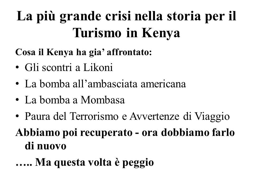 La più grande crisi nella storia per il Turismo in Kenya Cosa il Kenya ha gia affrontato: Gli scontri a Likoni La bomba allambasciata americana La bomba a Mombasa Paura del Terrorismo e Avvertenze di Viaggio Abbiamo poi recuperato - ora dobbiamo farlo di nuovo …..