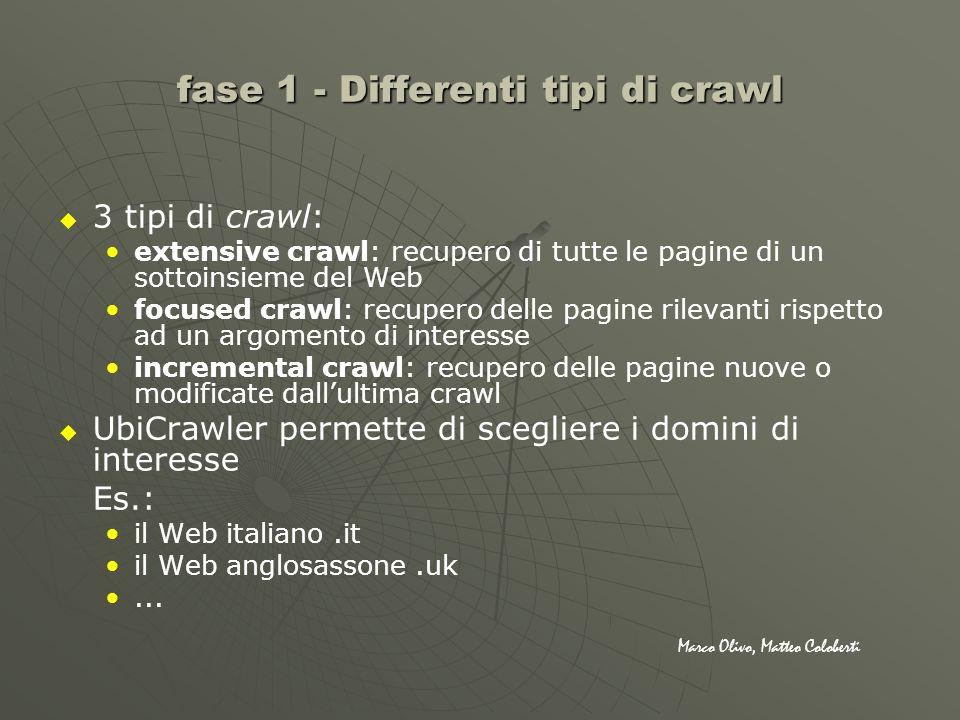 3 tipi di crawl: extensive crawl: recupero di tutte le pagine di un sottoinsieme del Web focused crawl: recupero delle pagine rilevanti rispetto ad un