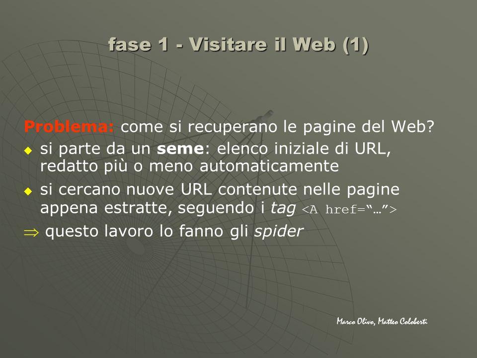 Problema: come si recuperano le pagine del Web? si parte da un seme: elenco iniziale di URL, redatto più o meno automaticamente si cercano nuove URL c