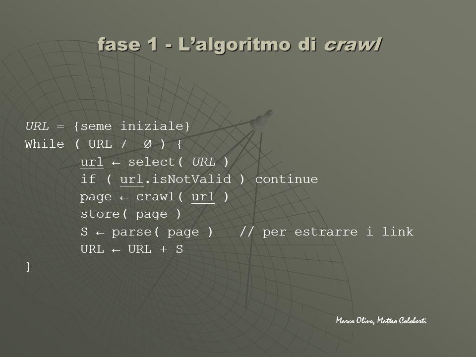 URL = {seme iniziale} While ( URL Ø ) { url select( URL ) if ( url.isNotValid ) continue page crawl( url ) store( page ) S parse( page ) // per estrar